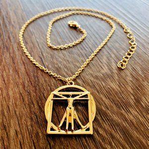Gold Vitruvian Charm Adjustable Length Necklace